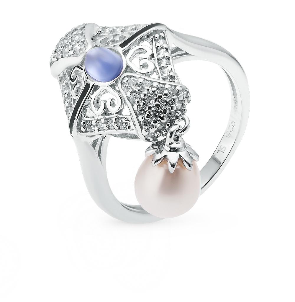 Фото «серебряное кольцо с культивированными жемчугом, фианитами и эмалью»