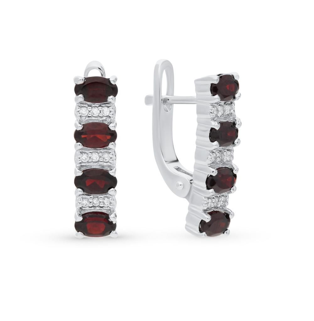 Фото «серебряные серьги с гранатами и фианитами»