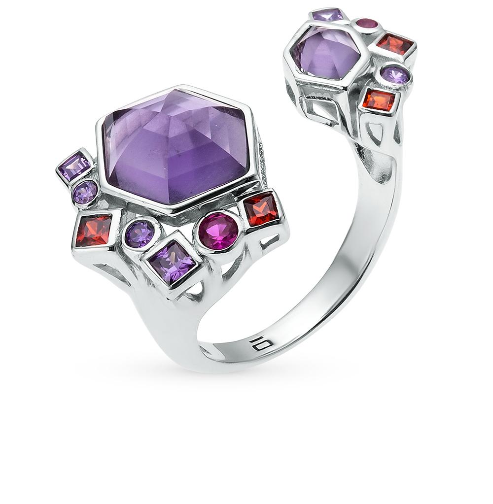 Фото «кольцо из серебра с алпанитом, фианитом и сапфиром»