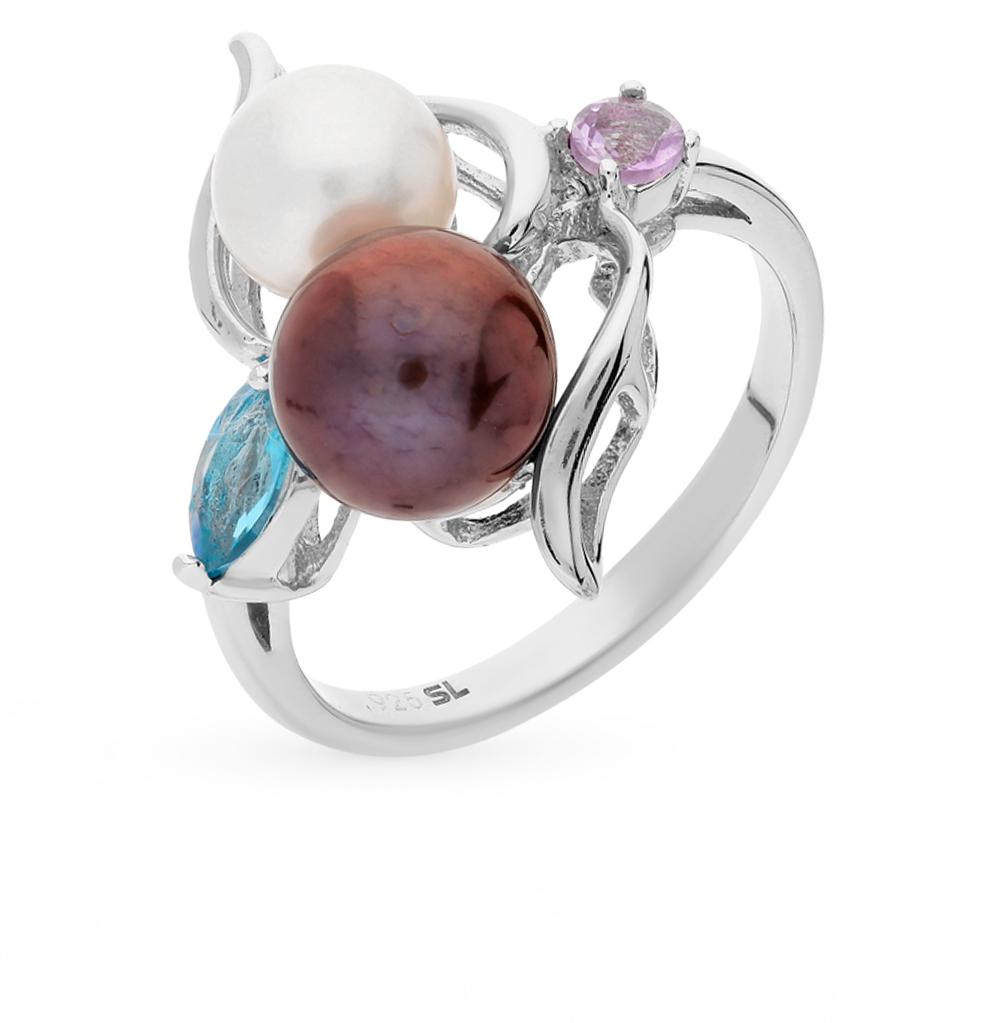Фото «серебряное кольцо с аметистами, топазами и жемчугом»