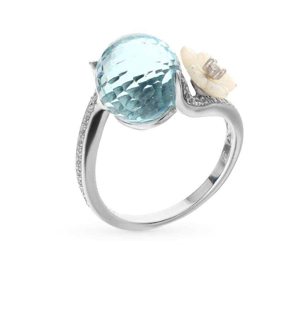 Фото «серебряное кольцо с перламутром, топазами и фианитами»