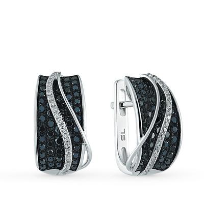 Фото «золотые серьги с чёрными бриллиантами и бриллиантами»