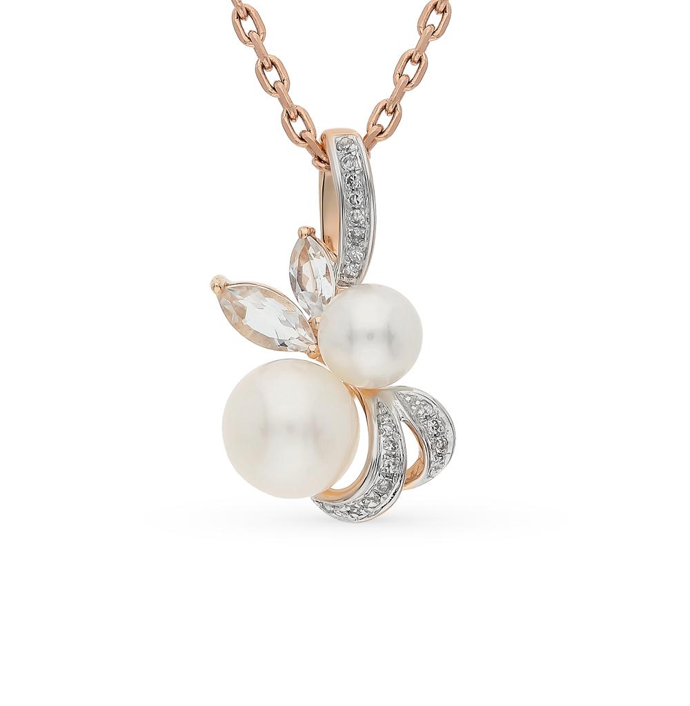 Фото «золотая подвеска с бриллиантами, жемчугом и топазами»