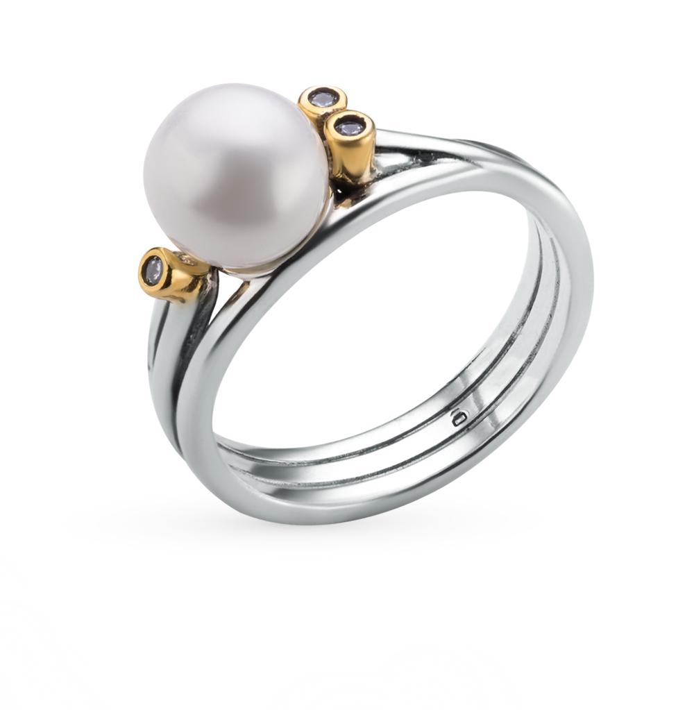 Фото «кольцо из серебра с жемчугом имитацией и фианитом»