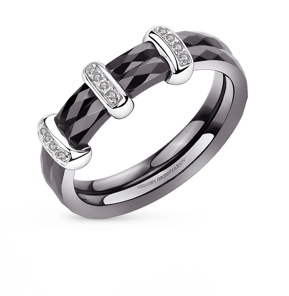 Фото «кольцо из серебра и керамики с серебром и фианитами»