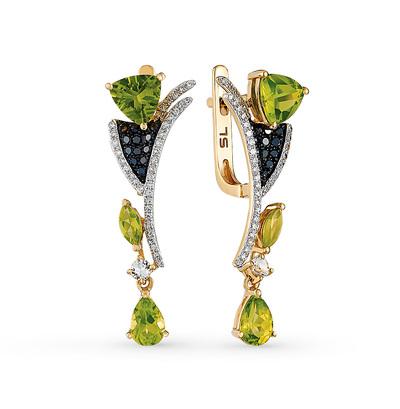 Фото «золотые серьги с чёрными и белыми бриллиантами, топазами и хризолитами»