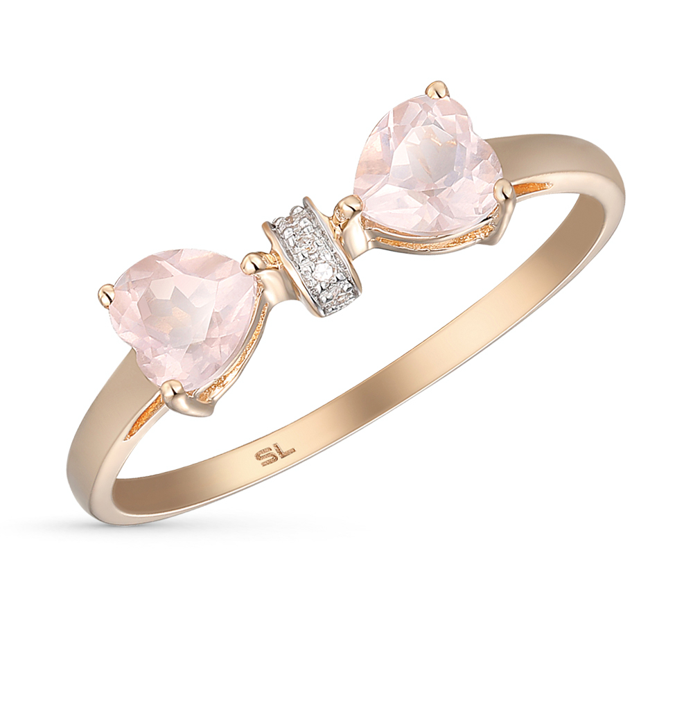 Фото «золотое кольцо с бриллиантами и кварцами»