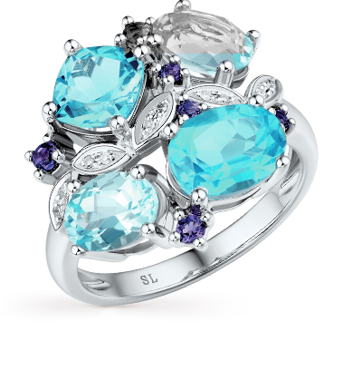 Фото «золотое кольцо с аметистом, топазами и бриллиантами»