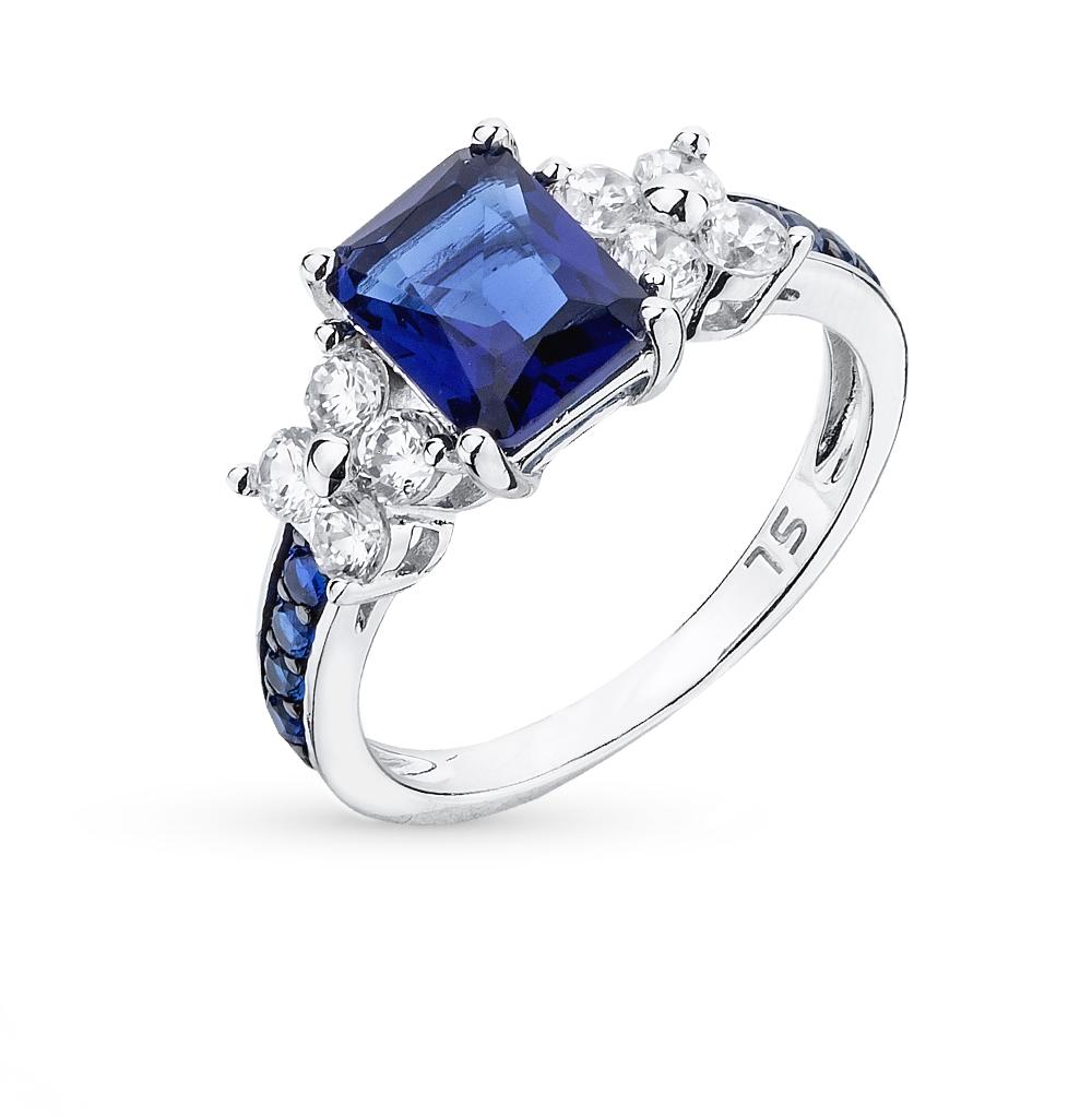 Фото «серебряное кольцо с со шпинелью, фианитами и сапфирами»