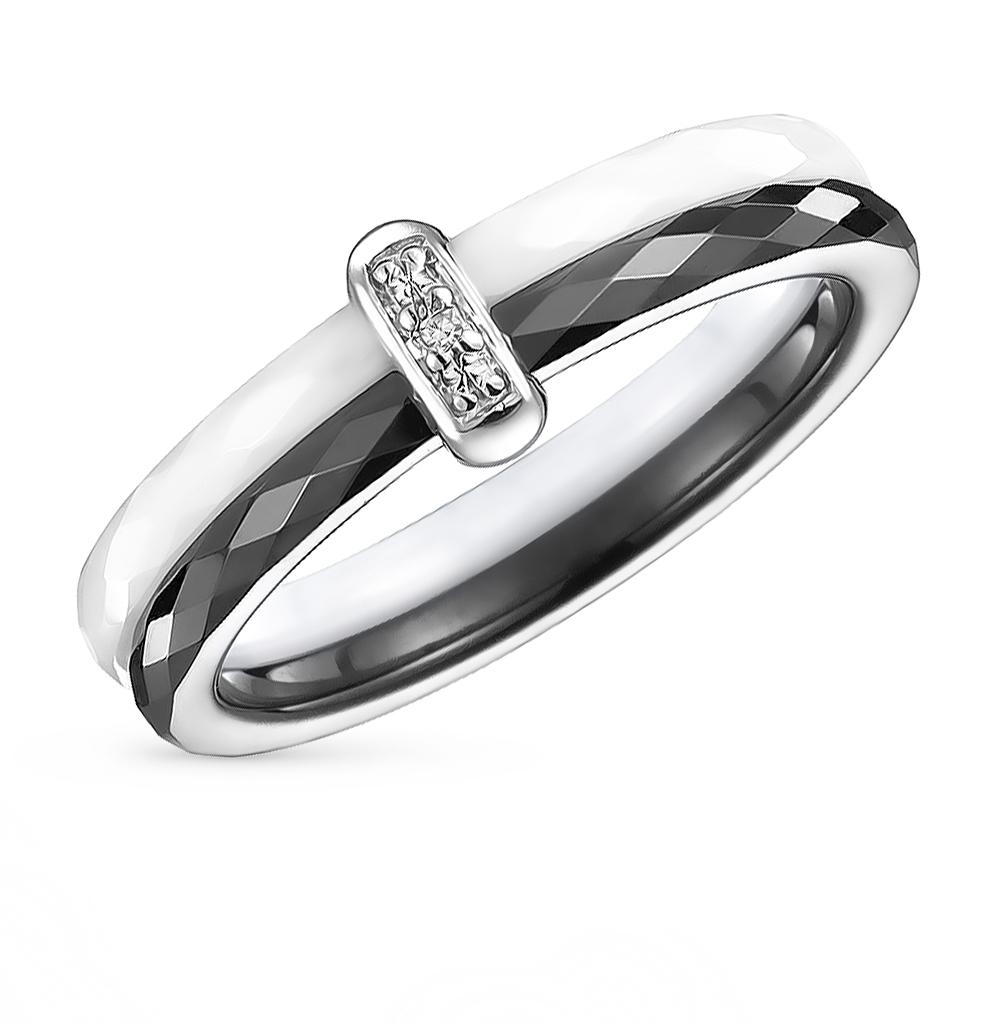 Фото «кольцо из керамики и стали с фианитами»