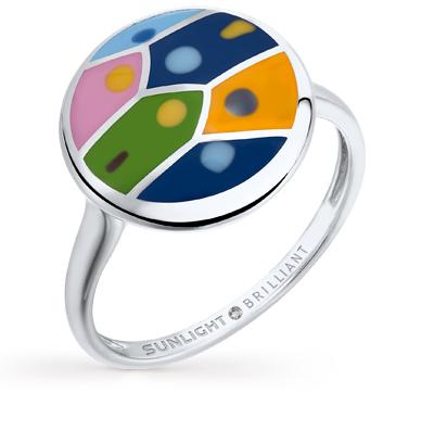 Фото «серебряное кольцо с эмалью и бриллиантами»