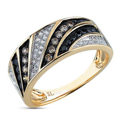 Фото «золотое кольцо с коньячными бриллиантами и бриллиантами»