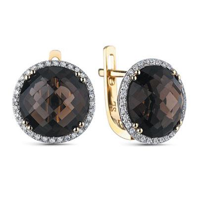 Фото «золотые серьги с кварцем и бриллиантами»