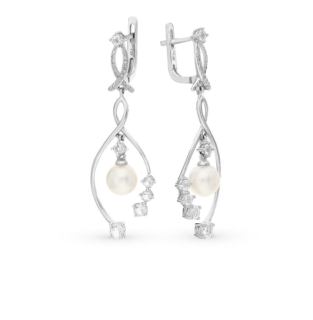 Фото «золотые серьги с кварцем, жемчугом и бриллиантами»